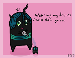 Size: 593x456 | Tagged: artist:evan555alpha, changeling, chibi, cute, cutealis, derpibooru exclusive, dialogue, female, heart, queen chrysalis, safe, simple background, solo, watering can