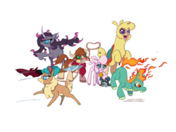 Size: 2000x1500 | Tagged: safe, artist:swasfews, arizona (tfh), fhtng th§ ¿nsp§kbl, oleander (tfh), paprika (tfh), pom (tfh), tianhuo (tfh), velvet (tfh), alpaca, classical unicorn, cow, deer, demon, lamb, longma, reindeer, sheep, unicorn, them's fightin' herds, bandana, bell, bell collar, blanket, cloven hooves, collar, community related, digital art, female, fightin' six, lasso, leonine tail, one eye closed, open mouth, puppy, rope, saddle blanket, simple background, tongue out, transparent background, unshorn fetlocks