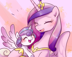 Size: 1280x1024 | Tagged: safe, artist:haden-2375, princess cadance, princess flurry heart, alicorn, pony, baby, baby pony, cute, cutedance, duo, eyes closed, female, flurrybetes, foal, mare, mother and daughter, open mouth, smiling, underhoof