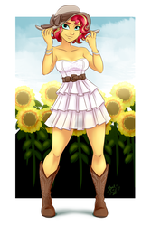 Size: 1600x2400 | Tagged: artist:ponut_joe, bare shoulders, beautiful, belt, boots, bracelet, clothes, cowboy boots, cute, dress, equestria girls, female, freckles, hat, jewelry, looking at you, ruffles, safe, shimmerbetes, shoes, short hair, shoulderless, smiling, solo, sundress, sunflower, sun hat, sunset shimmer, when she smiles