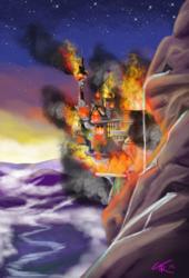 Size: 800x1176 | Tagged: safe, artist:theneithervoid, background, building, burning, burning city, canterlot, castle, destruction, fire, mountain, no pony, scenery, smoke, stars, sunrise