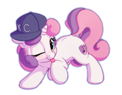 Size: 1400x1100   Tagged: safe, artist:bobdude0, sweetie belle, pony, unicorn, blushing, cute, diabetes, diasweetes, female, filly, hat, looking at you, one eye closed, raised hoof, simple background, smiling, solo, tongue out, transparent background, wink