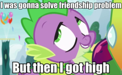 Size: 960x593 | Tagged: safe, edit, edited screencap, screencap, spike, thorax, changedling, changeling, dragon, triple threat, afroman, because i got high, caption, image macro, king thorax, meme, out of context, solo, stoner spike