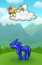 Size: 600x940 | Tagged: safe, artist:alittleofsomething, oc, oc:lola cloudmaker, pony, cloud, commission, mountain, ponified, rain, raincloud, sonic the hedgehog, sonic the hedgehog (series)
