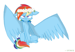 Size: 2853x2001 | Tagged: safe, artist:ratann, rainbow dash, pegasus, pony, blushing, female, floral head wreath, flower, flower in hair, grumpy, i'm not cute, mare, rainbow dash is not amused, simple background, solo, spread wings, unamused, wings