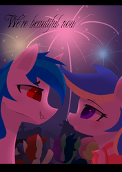 Size: 1489x2100 | Tagged: safe, artist:l8lhh8086, oc, oc only, unnamed oc, pony, clothes, female, fireworks, male, mare, oc x oc, shipping, stallion, straight