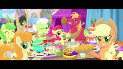 Size: 1280x720   Tagged: safe, screencap, apple bloom, apple fritter, applejack, big macintosh, caramel apple, granny smith, my little pony: the movie, apple, apple family, apple family member, apple pie, festival of friendship, food, pie, youtube link