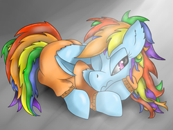 Size: 3264x2448 | Tagged: safe, artist:visrack, rainbow dash, pony, clothes, lying down, prison outfit, prisoner rd, solo