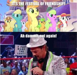Size: 1443x1406 | Tagged: chris jericho, edit, edited screencap, festival of friendship, image macro, meme, my little pony: the movie, safe, screencap, wwe