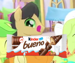 Size: 325x274 | Tagged: safe, edit, edited screencap, screencap, apple fritter, caramel apple, golden delicious, granny smith, pony, my little pony: the movie, apple family member, background pony, bueno, female, festival of friendship, kinder bueno, male, mare, reaction image, stallion, tongue out