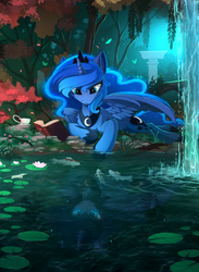 Size: 1756x2400 | Tagged: safe, artist:yakovlev-vad, nightmare moon, princess luna, alicorn, butterfly, fish, koi, pony, book, cup, duality, eye reflection, female, lidded eyes, looking down, mare, nightmare luna, open mouth, pond, prone, reading, reflection, scenery, scenery porn, smiling, smirk, solo, spread wings, teacup, water, waterfall, wings