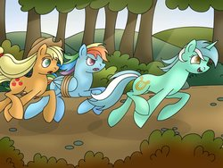 Size: 1024x768 | Tagged: safe, artist:lavenderrain24, applejack, lyra heartstrings, rainbow dash, earth pony, pegasus, pony, unicorn, fall weather friends, bound wings, female, forest, mare, race, racing, rope, running, running of the leaves, winning