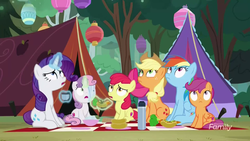 Size: 1280x720 | Tagged: safe, screencap, apple bloom, applejack, rainbow dash, rarity, scootaloo, sweetie belle, fly, pony, campfire tales, camping, carrot, carrot dog, cutie mark crusaders, discovery family logo, food, forest, lantern, looking up, magic, picnic, picnic blanket, sitting, telekinesis, tent, thermos, tree