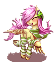 Size: 1526x1696 | Tagged: artist:dankflank, blushing, clothes, cute, eyes closed, female, fluttershy, headphones, horseshoes, mare, open mouth, pegasus, pony, safe, scarf, shyabetes, simple background, smiling, socks, solo, striped socks