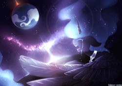 Size: 4092x2893 | Tagged: safe, artist:polkadot-creeper, princess luna, alicorn, pony, lullaby for a princess, banishment, chains, collar, crying, eyes closed, female, floppy ears, mare, moon, open mouth, sharp teeth, solo, space, spread wings, stars, teeth, wings