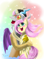 Size: 1536x2048 | Tagged: artist:alexbluebird, discord, discoshy, female, fluttershy, heart eyes, male, safe, shipping, straight, wingding eyes