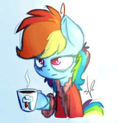 Size: 1200x1250 | Tagged: artist:shinodage, bags under eyes, clothes, coffee, morning ponies, pony, rainbow dash, robe, safe, sleepy, solo