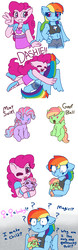 Size: 2400x7664   Tagged: safe, artist:synnibear03, pinkie pie, rainbow dash, oc, oc:goofball, oc:mint swirl, oc:ponytale pinkie, oc:ponytale rainbow, earth pony, pegasus, pony, anthro, comic:ponytale, anthro with ponies, baby, baby pony, belly button, clothes, confusion, equestria girls outfit, female, female symbol, filly, high res, hoof hands, hug, lesbian, magical lesbian spawn, math, midriff, offspring, one eye closed, pacifier, parent:pinkie pie, parent:rainbow dash, parents:pinkiedash, pinkiedash, question mark, shipping, skirt, thinking, tongue out, wide eyes, wink