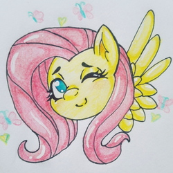 Size: 1576x1576 | Tagged: safe, artist:evyxhearts, fluttershy, butterfly, pony, bust, female, looking at you, no pupils, one eye closed, portrait, smiling, solo, traditional art, wings, wink