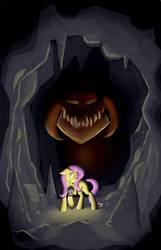 Size: 1125x1750 | Tagged: safe, artist:sirmortimeriii, fluttershy, dragon, pony, atg 2017, cave, floppy ears, lantern, mouth hold, newbie artist training grounds, raised hoof, scared