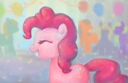 Size: 792x512 | Tagged: artist:yeyeyyy, atg 2017, balloon, earth pony, eyes closed, newbie artist training grounds, party, pinkie pie, pony, safe, smiling, solo focus