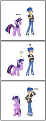 Size: 1580x4111   Tagged: safe, artist:bbbhuey, flash sentry, twilight sparkle, alicorn, pony, equestria girls, bipedal, comic, confused, crossed arms, cute, female, flashlight, funny, head scratch, horses doing human things, human flash sentry x pony twilight, idea, interspecies, male, pose, shipping, straight