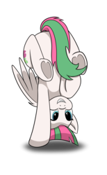 Size: 1024x1657 | Tagged: safe, artist:redquoz, blossomforth, pegasus, pony, atg 2017, female, flexible, handstand, newbie artist training grounds, simple background, smiling, solo, strategically covered, tail censor, that pony sure is flexible, underhoof, upside down, white background