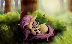 Size: 1200x740 | Tagged: safe, artist:zetamad, angel bunny, fluttershy, butterfly, pony, atg 2017, blushing, cute, folded wings, forest, lying down, nature, newbie artist training grounds, one eye closed, scenery, shyabetes, tree