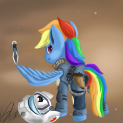 Size: 1827x1817 | Tagged: safe, artist:qbellas, rainbow dash, pony, female, helmet, mare, solo, titanfall, wing hands, wing hold