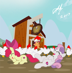 Size: 1600x1632 | Tagged: safe, artist:succubi samus, apple bloom, scootaloo, sweetie belle, chicken, pony, bow, commission, cute, cutie mark, cutie mark crusaders, hat, laughing, overused joke, scepter, scootachicken, scootaloo is not a chicken, scootaloo is not amused, show accurate, sky, the cmc's cutie marks, unamused