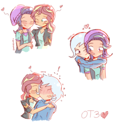 Size: 2099x2125   Tagged: safe, artist:noahther, starlight glimmer, sunset shimmer, trixie, equestria girls, beanie, clothes, counterparts, cute, eyes closed, female, hat, heart, human coloration, jacket, kissing, leather jacket, lesbian, one eye closed, otp, polyamory, shimmerglimmer, shipping, simple background, startrix, startrixset, suntrix, twilight's counterparts, vest, white background