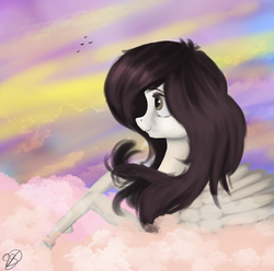 Size: 1857x1841 | Tagged: artist:vinicius040598, bird, cloud, commission, female, mare, oc, oc only, pegasus, pony, safe, solo