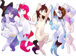 Size: 4902x3622 | Tagged: safe, artist:emily-826, oc, oc only, oc:button love, oc:shylu, alicorn, earth pony, pegasus, pony, unicorn, clothes, hat, high res, one eye closed, scarf, simple background, transparent background, wink, witch hat