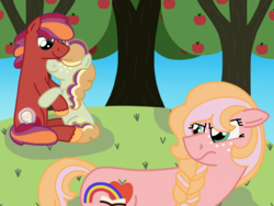 Size: 2048x1536 | Tagged: safe, artist:kindheart525, oc, oc only, oc:discovery, oc:honeycrisp, oc:somerset sour cider, earth pony, pony, unicorn, kindverse, apple tree, hair over eyes, offspring, parent:big macintosh, parent:cheerilee, parent:sugar belle, parents:cheerimac, parents:sugarmac, story included, tree