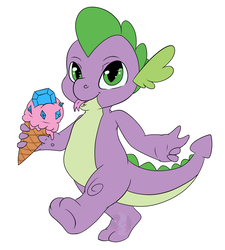 Size: 914x1016 | Tagged: safe, artist:diamondsparkle7, spike, dragon, baby, baby dragon, cute, food, gem, ice cream, ice cream cone, jewel, male, signature, simple background, solo, spikabetes, tongue out, walking, watermark, white background