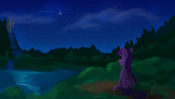 Size: 1024x576 | Tagged: alicorn, artist:camyllea, atg 2017, canterlot, canterlot castle, female, forest, grass, lake, looking up, mare, newbie artist training grounds, night, outdoors, pony, river, safe, scenery, shooting star, sitting, smiling, solo, stargazing, starry night, tree, twilight sparkle, twilight sparkle (alicorn), water, waterfall