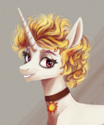 Size: 1200x1440 | Tagged: safe, artist:weird--fish, princess celestia, alicorn, pony, alternate design, alternate hair color, alternate hairstyle, bust, choker, cute, cutelestia, eyelashes, featured image, female, grin, looking at you, mare, portrait, short hair, smiling, solo