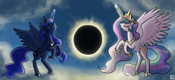 Size: 2175x1000 | Tagged: 2017 solar eclipse, alicorn, artist:king-kakapo, cloud, duo, eclipse, eyes closed, female, magic, mare, moon, moon work, pony, princess celestia, princess luna, rearing, safe, sky, solar eclipse, sun, sun work, unshorn fetlocks