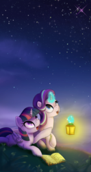 Size: 1000x1875 | Tagged: safe, artist:klemm, starlight glimmer, twilight sparkle, alicorn, pony, unicorn, atg 2017, book, cute, duo, female, glimmerbetes, glowing horn, lantern, looking up, mare, newbie artist training grounds, night, open mouth, stargazing, starry night, stars, teacher and student, twiabetes, twilight sparkle (alicorn)