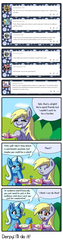 Size: 1000x3944 | Tagged: safe, artist:outofworkderpy, derpy hooves, trixie, pegasus, pony, unicorn, comic:a derpy magic show, blushing, comic, duo, duo female, female, mare, outofworkderpy, sweat, sweatdrops, table, tumblr, tumblr comic