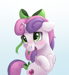 Size: 1024x1115 | Tagged: safe, artist:vanillaghosties, sweetie belle, pony, unicorn, blushing, bow, cute, diasweetes, female, filly, floppy ears, gradient background, hair bow, heart eyes, open mouth, smiling, solo, tail bow, vanillaghosties is trying to murder us, weapons-grade cute, wingding eyes