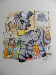Size: 3000x4000 | Tagged: artist:andypriceart, beauty and the beast, book, candle, cauldron, colored pencil drawing, cute, dreary, female, flower, jewelry, looking at you, mare, marker drawing, photo, pumpkin, rose, safe, smiling, solo, traditional art, zebra, zecora, zecorable