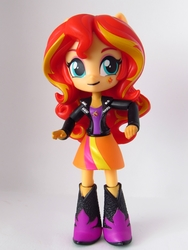 Size: 990x1320   Tagged: safe, artist:whatthehell!?, sunset shimmer, equestria girls, boots, clothes, doll, equestria girls minis, irl, jacket, merchandise, photo, shoes, toy