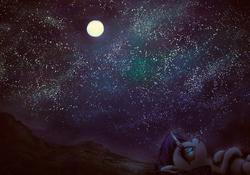 Size: 4000x2800 | Tagged: safe, artist:plotcore, rarity, pony, unicorn, atg 2017, female, full moon, looking up, mare, moon, newbie artist training grounds, night, on back, profile, smiling, solo, stargazing, starry night, stars