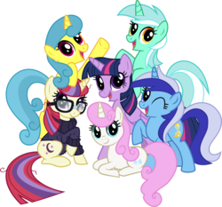 Size: 5000x4655 | Tagged: safe, artist:limedazzle, lemon hearts, lyra heartstrings, minuette, moondancer, twilight sparkle, twinkleshine, alicorn, pony, unicorn, absurd resolution, alternate mane six, canterlot six, counterparts, female, glasses, looking at you, mane six opening poses, mare, one eye closed, open mouth, simple background, smiling, transparent background, twilight sparkle (alicorn), twilight's counterparts, vector, wink