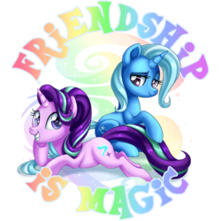 Size: 894x894 | Tagged: safe, artist:arcadianphoenix, artist:drawponies, starlight glimmer, trixie, pony, unicorn, commission, female, friendship, looking at you, mare, prone, simple background, sitting, smiling, title drop, transparent background