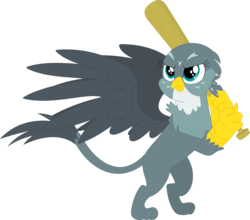 Size: 3589x3162 | Tagged: safe, artist:porygon2z, gabby, griffon, the fault in our cutie marks, baseball bat, female, simple background, solo, transparent background