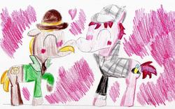 Size: 1285x803 | Tagged: safe, artist:ptitemouette, pony, gay, heart, john watson, male, non-mlp shipping, sherlock holmes, shipping, traditional art