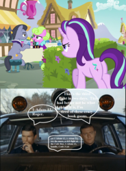 Size: 1022x1388 | Tagged: adam-12, cafe, cropped, daisy, diamond cutter, edit, edited screencap, fame and misfortune, fight, flower wishes, jack webb, officer malloy, officer reed, police car, policemen, pony, radio voice, safe, screencap, speech bubble, starlight glimmer, this will end in tears