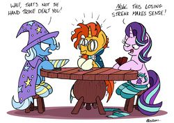 Size: 2442x1725 | Tagged: safe, artist:bobthedalek, starlight glimmer, sunburst, trixie, pony, unicorn, cape, cheating, clothes, counter-cheating, dialogue, female, hat, male, mare, messy mane, open mouth, poker, scarf, shrunken pupils, simple background, sitting, socks, stallion, stool, strip poker, striped socks, table, trio, trixie's cape, trixie's hat, unamused, white background